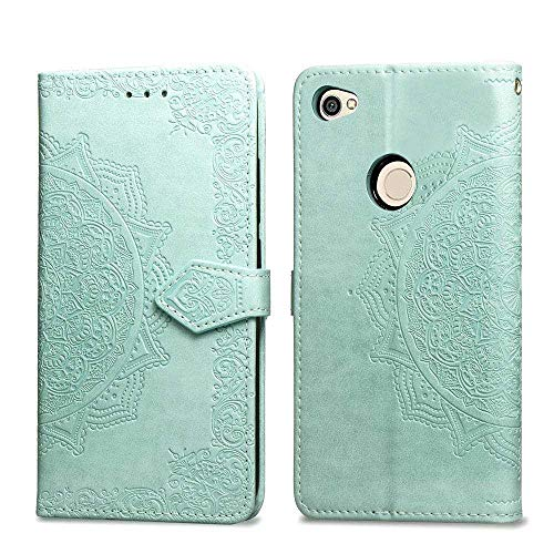 Bear Village Hülle für Xiaomi Redmi Note 5A, PU Lederhülle Handyhülle für Xiaomi Redmi Note 5A, Brieftasche Kratzfestes Magnet Handytasche mit Kartenfach, Grün