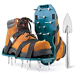 Jumbo varieties lawn aerator shoes - comfortable grass aerating spike sandals for lawns with stainless steel shovel… 1 ✅ keep your grass healthy & lush: make sure that air, water and nutrients reach deeper into your yard soil and add thickness to your grass with the jumbo varieties premium aerating shoes for lawn! ✅ save your time, effort & money: the smart one-strap design will allow you to easily put on and remove your spike shoes for grass. Plus, the nonslip metal buckle will ensure a comfy and tight fit. ✅ feel the difference with every step: reach deep-rooted soil and invigorate your grass with our lawn aeration shoes, which features a sturdy plastic base and industrial-grade rust-proof spikes!