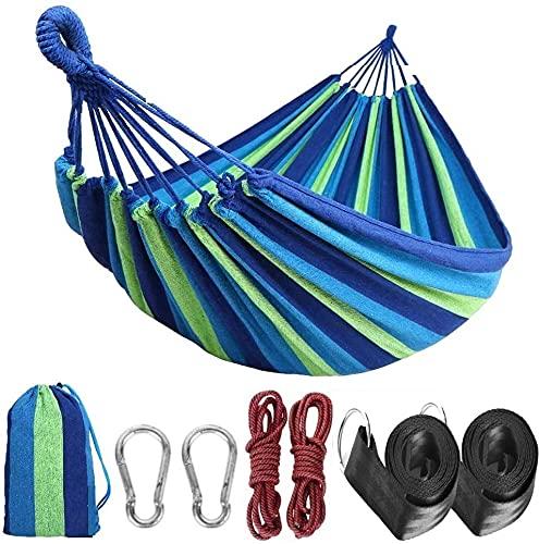 Tintonlife Brazilian Double Hammock (Max 550lb-XXXL ) - Two Person Extra Large Canva Cotton Fabric Hammock with Carrying Bag for Patio Porch Garden Backyard,Outdoor/Indoor - Blue Green Stripe XXXLarge