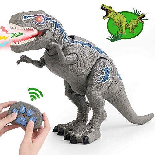 VSATEN Remote Control Dinosaur Toys for 3-12 Year Old Boys Girls, LED Light Up Walking and Roaring Realistic T-Rex Dinosaur Toy with Glowing Eyes Projection Spray Function for Kids Gifts Age 3+
