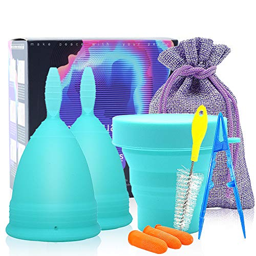 SPEQUIX Menstrual Cup Set 6PCS - Reusable Silicone Period Cup & Foldable Cup for Sterilized - Best Feminine Alternative Protection to Tampons and Cloth Sanitary Napkins (Blue)