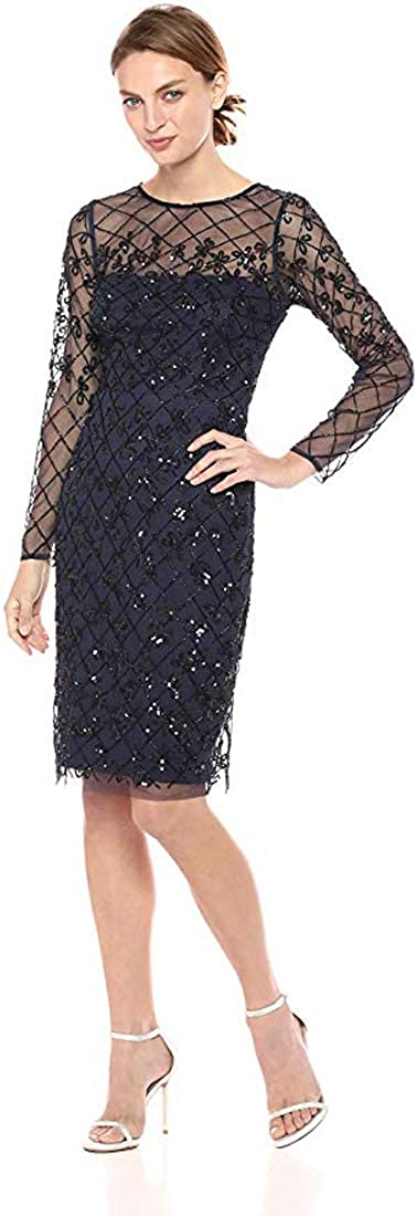 Adrianna Papell Women's Short Fully Beaded Sheath Dress with Long Sleeves