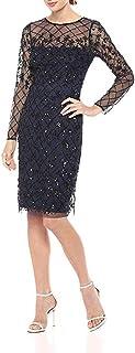 Women's Short Fully Beaded Sheath Dress with Long Sleeves