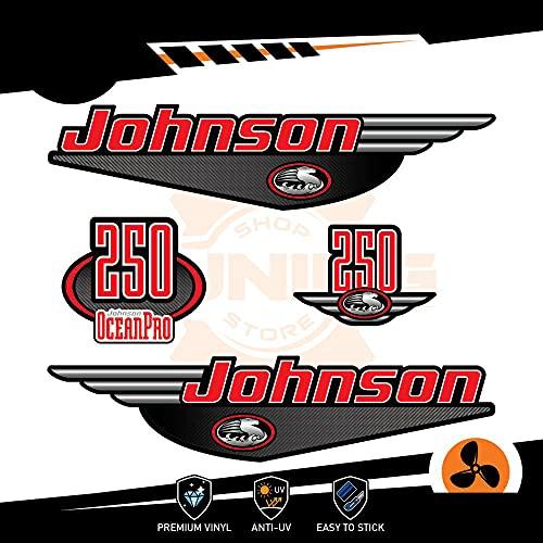 Generico Johnson - Kit de adhesivos para motor marino fuera de borda 250 CV Ocenapro – Carbon -Look B
