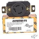 Journeyman-Pro 2410 NEMA L14-20R, 20A 125/250 Volt, Flush Mounting Locking Wall Receptacle Socket/Outlet, Black Industrial Grade, Grounding Welding/Generator Rated 5000 Watts (1, 2410)