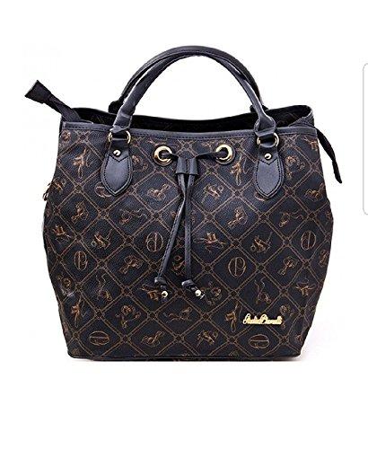 Giulia Pieralli #407 Damen Handtasche Damentasche Tasche Beuteltasche Kunstleder (Schwarz)