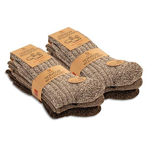 Footstar Herren Winter Wollsocken (6 Paar) Norweger Socken mit Frottee Plüschsohle - Brauntöne 39-42