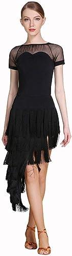 Robe De Danse Latine pour Gland à La Mode à Manches Courtes pour Femmes Perforhommece Perforhommece dans La Salle De Danse Costume De Danse Latine Jupe D'entraîneHommest (Couleur   noir, Taille   S)