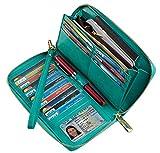 Chelmon Womens Wallet Leather RFID Blocking Purse Credit Card Clutch(wax green)