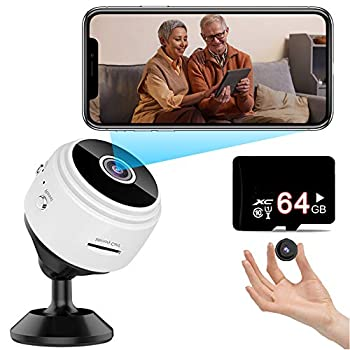 surgicalonline Hidden Mini Spy Camera  Include a 64G SD Card  with Audio and Video Live Feed WiFi Wireless Cameras 1080P HD Nanny Cam with Night Vision Motion Detection for Home Bathroom Car  White