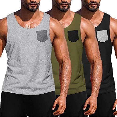 JINIDU Herren 3er Pack Workout Tank Tops Fitnessstudio Fitness Muskel ärmelloses T-Shirt Schwarz/Hellgrau/Armeegrün X-Large