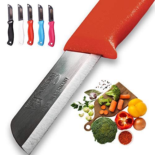 Solingen 5x Allzweckmesser Made in Germany – Tafelmesser Set mit extra scharfen langlebigen Obst- und Gemüsemessern aus rostfreiem Edelstahl