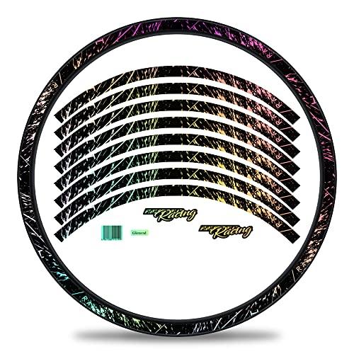 Finest Folia Juego de 16 pegatinas para llantas de bicicleta en diseño de carreras, juego completo para bicicletas eléctricas, de carreras, de montaña, de carreras RX024 (holograma plateado brillante)