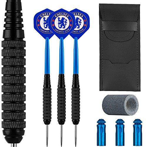 Chelsea Darts Bundle–Darts, Stängel, Flights, Fall, Spitzer & Displayschutzfolien, 24g - Black, XXXXXL