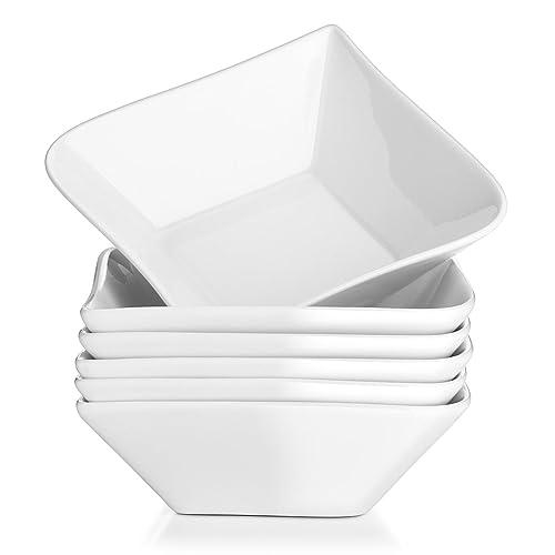 Dowan 24 Ounces Porcelain Square Bowls White Bowl Set for Cereal//Soup//Pasta Set of 3