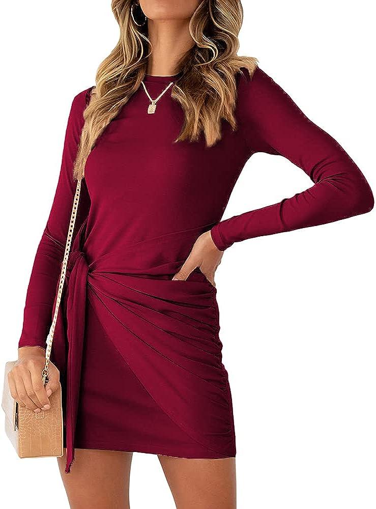 LILLUSORY Women's Fall Long Sleeve Casual Winter Crewneck Bodycon Ruched Tie Waist Mini Dress