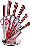 Set coltelli Royalty Line 8pz RL-KSS804 - Lame + elegante espositore COLORE ROSSO