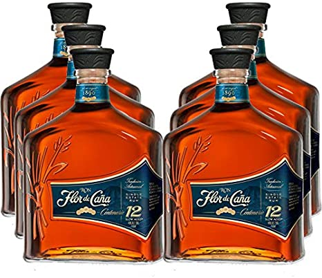 Ron Flor de Caña Centenario 12 años de 70 cl - DO Nicaragua - Bodegas Osborne (Pack de 6 botellas)