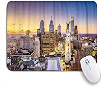 ゲーミングマウスパッドカスタム、Cityscapeフィラデルフィアペンシルバニアアメリカダウンタウンシティスカイラインアーキテクチャ空中、オフィスパーソナライズデザイン滑り止めゴムマウスパッド9.5 X 7.9インチ