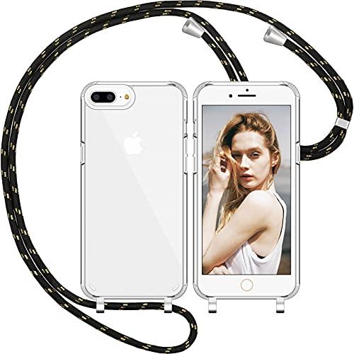 Nupcknn Funda de silicona líquida para iPhone 7 Plus iPhone 8 Plus iPhone 6S Plus, funda para el cuello (extraíble), funda con cordón para colgar, funda para teléfono móvil con banda (oro negro)