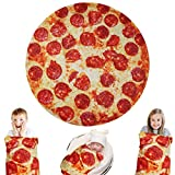 Lhedon Giant Pizza Blanket Kids 60 Inch,Plush Wrap Blanket Throw,Realistic FoodFlannel Pet BlanketTowel,Gift for Teens Boys Girls - Bed/Sofa/Couch/Travel