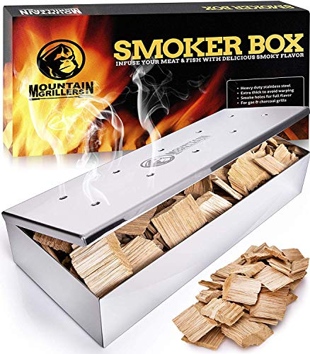 Smoker Box for Wood Chips - Use a Gas or Charcoal BBQ Grill and Still Get That Delicious Smoky Barbecue Flavored Grilled Meat - Hinged Lid for Easy Access (Polished Finish Stainless Steel)