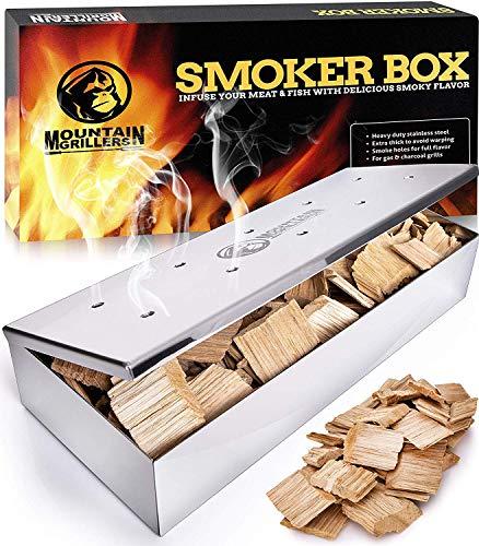 Affumicatore Barbecue – Smoker Box per Affumicare la Carne alla Griglia e Ottenere Un Sapore Delizioso - Prodotto Robusto in Acciaio Inox e Coperchio