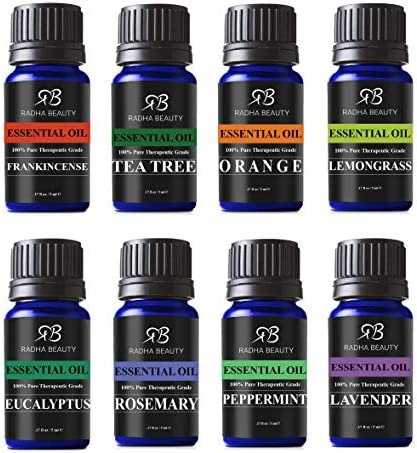 Radha Beauty Aromatherapy Top 8 Essential Oils 100% Pure & Therapeutic Grade - Sampler Gift Set & Kit (Lavender, Tea Tree, Eucalyptus, Lemongrass, Orange, Peppermint, Frankincense and Rosemary)