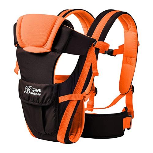 Yhomie - Portabebé 4 en 1, portabebés ergonómico y de espalda ajustable, multifuncional, para recién nacidos, niños de 0 a 24 meses, color naranja