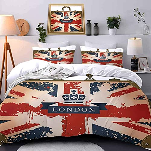 Funda nórdica de Impresa en 3D Juego de Cama de Impresión de Bandera Nacional Maleta de Viaje Arrugada ecológica Bandera Nacional Corona de Seda de Londres Single(135X200 Cm), 2 Piece Set 1 Piece