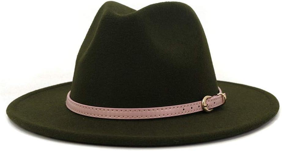 no-branded Elegant Fedora Hat Men Women Autumn Winter Cotton Felt Wide Brim Hat Adjustable Belt Jazz Fashion Hat ZRZZUS (Color : Dark Green, Size : 56-58cm)