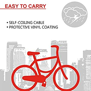 MASTER LOCK Candado Bicicleta [1,8 m Cable] [Llave] [Exterior] [Color al Azar] 8127EURDPRO - Ideal para Bicicleta, Monopatín, Paseante, Cortacésped y Otro Equipo