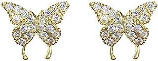 YERTTER Elegant 925 Tiny Gold Butterfly Earrings Iced Out Earrings Ear Studs Rhinestones Crystal Ear Stud Ear Jewelry for ...