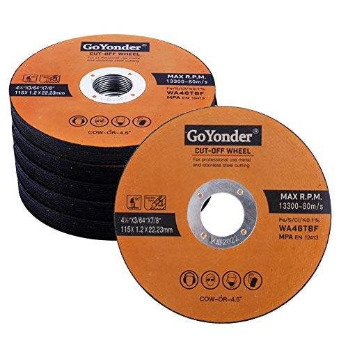 GoYonder 50 Pack 4.5' Cutting Wheel for Metal,Stainless and Steel 4-1/2' x 0.045 x 7/8-Inch Ultra Thin Cut-Off Wheel for Angle Grinders