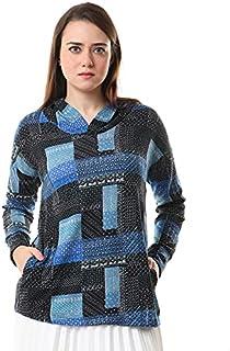 سويت شيرت منقوش بغطاء للرأس وخياطة اسفل الكتف للنساء من اندورا، XL