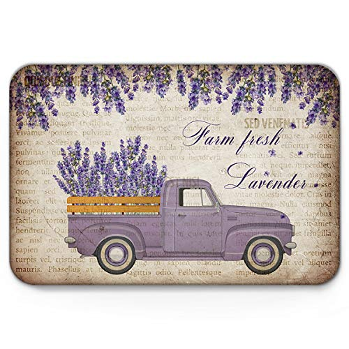 Indoor Doormat Front Door Mat 18''x30'', Rural Truck Carry Farm Fresh Lavender Flowers Absorbent Entrance Rug, Non Slip Bathmat, Dirt Trapper Entry Rug Inside Welcome Carpet Vintage Newspaper