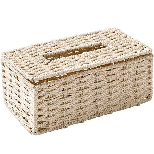 GSDJU Caja de pañuelos extraíble Tejida a Mano, Caja de Almacenamiento de Papel, contenedor de servilletas de Escritorio para Hotel en casa, Caja Rectangular Hueca de Estilo Simple
