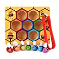 Toddler Fine Motor Skill Toy - Clamp Bee to Hive Matching Game - Montessori Wooden Color Sorting Puzzle Early Learning Preschool Educational Kids Toys for 2 3 4 Years Old Boys and Girls Gift