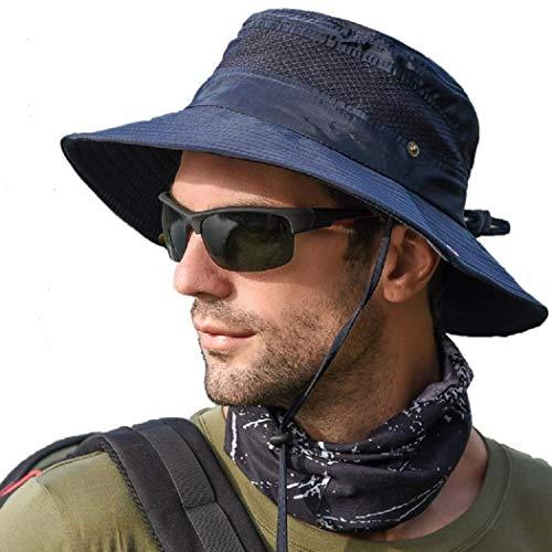 anaoo Sombrero Hombre Gorra de Verano Sombrero Pesca del Sol Gorra al Aire Libre Sombrero Playa Hombre Plegable De ala Ancha Protección UV, Color Azul Fuerte