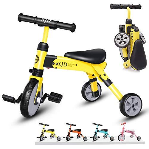 XJD 2in1 Multi klappbar Kinder/BabyLaufrad Dreiräder EasyGo inkl. Tragetasche CE-Zertifizierung 2-4 Alt (Gelb)