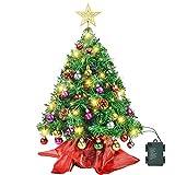 Wesimplelife Sapin de Noël Artificiel 60cm Arbre de Noël avec Décorations 50 Lumières LED Jaune Chaud 25 Boules, Pommes de Pin, Arbre Topper Mini Arbre de Xmas pour Les Enfants Noël Décoration