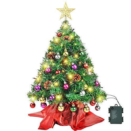 Wesimplelife - Mini albero di Natale artificiale con decorazioni a forma di albero di Natale con 25 palline a forma di stella e 50 luci a LED giallo caldo, decorazione per interni, 60 cm, verde