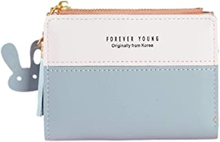 AHOMI Girls Bifold Hit Color Purse Women Short Wallet Card Holder for Adult Carry-on Ornaments and Collecting Light Blue