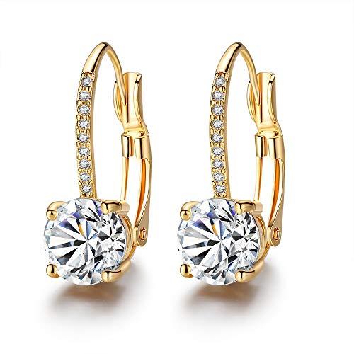 Élégantes boucles d'oreilles créoles en plaqué or avec zircons Pour femme et fille (A)