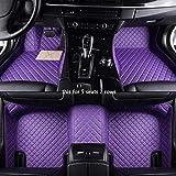 Youthus Alfombrillas Coche para Audi Q7 Q8 R8 TT Accesorios Coche Interior Cuero De PU Impermeable Antideslizante para Todo Clima 5 Asientos 2 Filas Morado