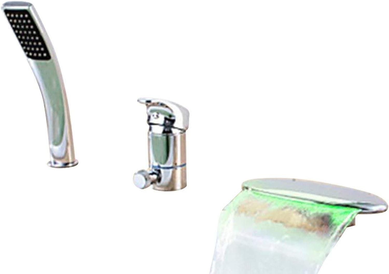 ZTMN Badewannenarmatur Moderner Wasserfall Vollmetall-Handbrause inklusive Einhand-Chrom M5102CL