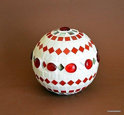 Handgefertigte Rosenkugel weiß rot spiegel 12 cm handmade handgemacht
