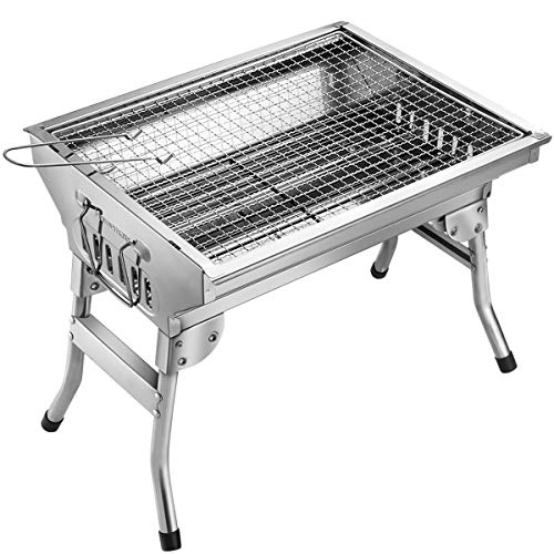 Homemaxs BBQ Grill, Stainless Steel BBQ Charcoal Grill, Portable Folding Outdoor Barbecue Griddle...