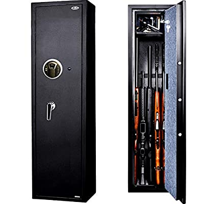 Moutec Large Rifle Gun Safe, Quick Access Rifle Gun Safe, 5-Gun Metal Rifle Gun Security Cabinet for Rifle with/Without Scope with Separate Pistol/Handgun Lock Box