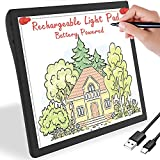 Rechargeable Light Box for Tracing Board Portable Cordless Light Pad Drawing A4 LED Trace Lights, Golspark Wireless Battery Operated Copy Board Dimmable Black Diamond Painting Sketch - Gift for Kids